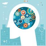 Businessman Head Idea Generation Gear Wheel Icons Stock Image