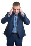 Businessman with headache Closeup Portrait Stock Photography
