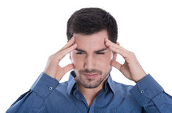 Businessman with headache or pensive isolated on white. Royalty Free Stock Photography