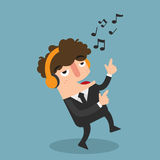 Businessman with headphones dancing and listening,vector Stock Photography