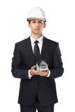 Businessman in headpiece hands model house Royalty Free Stock Images