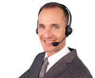 Businessman with a headset on Royalty Free Stock Photo