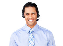 Businessman with headset on Royalty Free Stock Photo