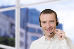 Businessman with headset Royalty Free Stock Photos
