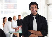 Businessman on a headset Stock Photo