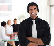 Businessman with a headset on Stock Photo