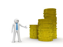 Businessman and heap of coins Royalty Free Stock Images