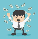 Businessman with heap of dollar money Royalty Free Stock Image