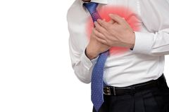 Businessman with heart attack. With copy space. stock photos