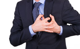 Businessman with heart attack. Royalty Free Stock Photos
