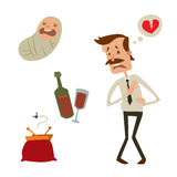 Businessman heart risk man heart attack stress infarct vector illustration smoking drinking alcohol harmful depression. Businessman heart risk factors man heart Stock Images