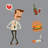 Businessman heart risk man heart attack stress infarct vector illustration smoking drinking alcohol harmful depression. Businessman heart risk factors man heart Stock Photography