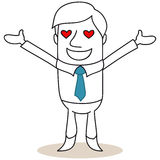 Businessman with hearts as eyes Royalty Free Stock Images