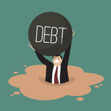 Businessman with heavy debt sinking in a quicksand Royalty Free Stock Images