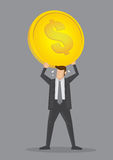 Businessman and Heavy Overhead Costs Vector Illustration. Cartoon businessman straining to hold up a huge heavy gold coin over his head. Creative vector Stock Images