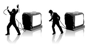 Businessman held back and freedom. Symbolic images fo businessman chained to a heavy load slowing him down and then breaking free royalty free illustration