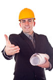Businessman with helmet Royalty Free Stock Images