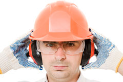 Businessman in a helmet Royalty Free Stock Photography