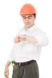 Businessman in helmet. Royalty Free Stock Image