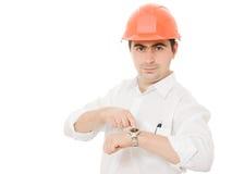 Businessman in helmet. Stock Photos