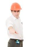 Businessman in helmet. Stock Photo