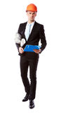 Businessman in helmet with blue folder Royalty Free Stock Images