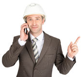 Businessman in helmet Royalty Free Stock Photos