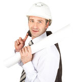 Businessman in helmet hold jacket and paper scroll Royalty Free Stock Photos