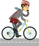 Businessman in helmet riding a bike isolated on Royalty Free Stock Photos