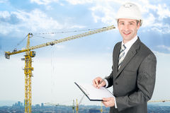 Businessman in helmet Royalty Free Stock Photography