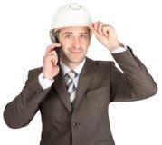Businessman in helmet Royalty Free Stock Photo