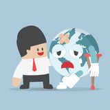 Businessman help injured planet earth stock illustration