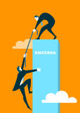 The businessman helps the partner to get on a pedestal stock illustration