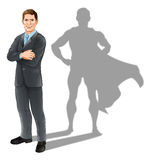 Businessman Hero. Hero businessman concept, illustration of a confident handsome business man standing with his arms folded with superhero shadow Stock Photography