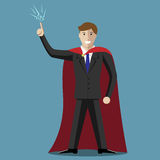 Businessman hero, insight. Young super hero businessman in moment of insight. Inspiration, creativity, success concept. EPS 10 vector illustration, no Stock Images