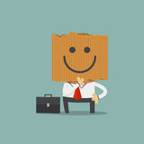 Businessman hide his real face by holding happiness cardboard mask. Stock Image