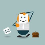 Businessman hide his real face and holding paper with happy emoticon. Vector Illustration Cute cartoon. Businessman hide his real face and holding paper with Royalty Free Stock Photos