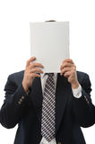Businessman Hiding Behind Paper Royalty Free Stock Image