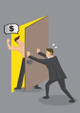 Businessman Hiding From Debt Collector Vector Illustration. Cartoon businessman pushing door to shut out hostile muscular man demanding for money. Vector Stock Photos