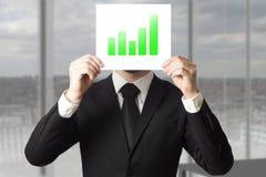 Businessman hiding face behind sign green bar diagram Stock Photography
