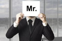Businessman hiding face sign mister Royalty Free Stock Photography