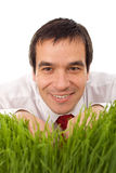 Businessman hiding in grass - isolated Royalty Free Stock Photo