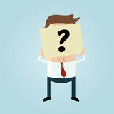 Businessman hiding his face behind a question mark note Stock Image