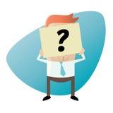 Businessman hiding his face behind a question mark note Stock Photos
