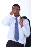 Businessman hiding his face. Royalty Free Stock Photo