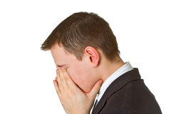 Businessman hiding his face in shame Royalty Free Stock Photo