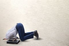 The businessman hiding his head in sand escaping from problems. Businessman hiding his head in sand escaping from problems stock images