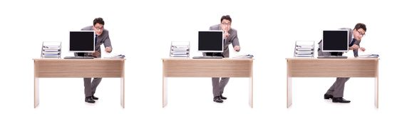 The businessman hiding in the office isolated on white. Businessman hiding in the office isolated on white Stock Photography