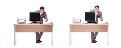 The businessman hiding in the office isolated on white. Businessman hiding in the office isolated on white Royalty Free Stock Image