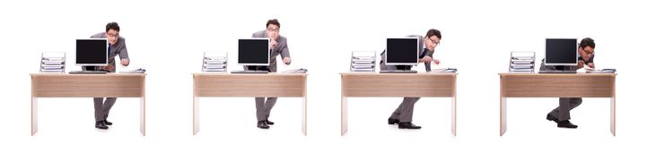 The businessman hiding in the office isolated on white. Businessman hiding in the office isolated on white Royalty Free Stock Photos